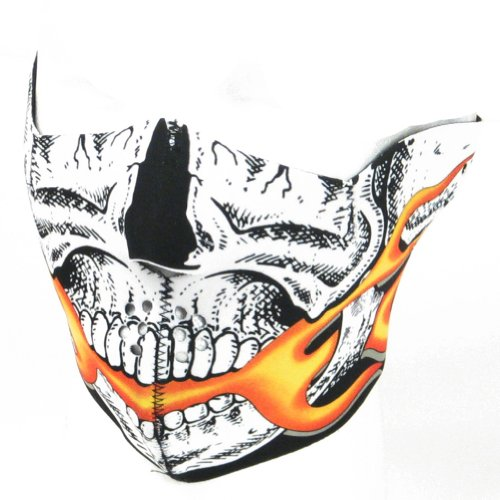 New Skull Flames Neoprene Half Face Mask Muzzle Motorcycle Nose Mouth Adj Size