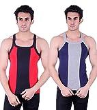 Zimfit Gym Vest - Pack of 2 (Blue_Red_34)