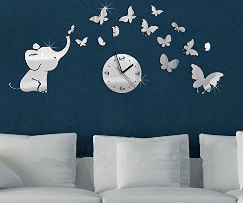 ColorfulHall DIY Decorative Modern Mirror Wall Clock Elephants and butterflies Wall Sticker 3D Acrylic Room Silent Large New Bedroom Livingroom Children Office Decore