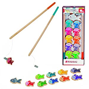 Let's Go Fishing Game- Magnetic Fishing Playset with 10 Fish, 1 Shark and 2 Poles by SCS Direct