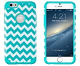 "iPhone 6, DandyCase 2in1 Hybrid High Impact Hard Aqua & White Chevron Pattern + Silicone Case Case Cover For Apple iPhone 6 (4.7"" screen) + DandyCase Screen Cleaner"