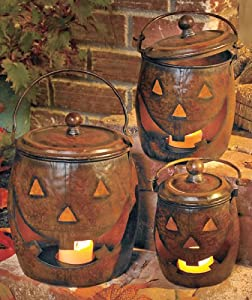 Set of 3 Metal Jack-O-Lanterns Halloween Decorations