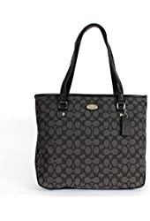 Coach 36185 Outlined Signature Zip Top Tote Black Smoke/black