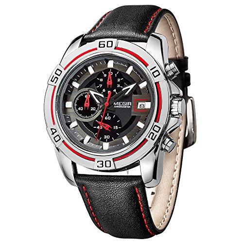 MEGIR Army Watches uomo, al quarzo, cinturino in pelle per orologio-Cronografo da polso relojes hombre