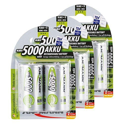 ANSMANN Piles Réchargeables D Mono (LR20/HR20) 5000mAh maxE ready2use NiMH Professional Pré-Chargé Power Accu - Pack de 6