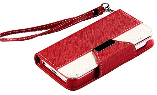 Mylife (Tm) Bright Ruby Red And White {Classic Design} Faux Leather (Card, Cash And Id Holder + Magnetic Closing + Hand Strap) Slim Wallet For The Iphone 5C Smartphone By Apple (External Textured Synthetic Leather With Magnetic Clip + Internal Secure Snap