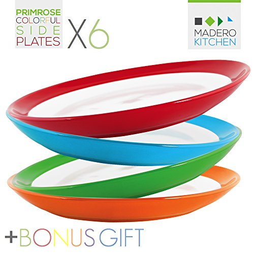 Madero Kitchen Primrose Colorful Side Plates - Set of 6 MEDIUM SIZE Ceramic Plates - 8.2 Inches - 100% Secure Packaging - BEAUTIFUL round DESIGN and DIFFERENT COLOURS! (Ceramic Microwave Plate compare prices)