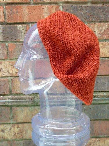Inspirit Arts Tam Beret Hat Reg Size Solid Rust Orange Colored Hand Made Crochet Knit Slouchy Dreadlock Lock Sock Reggae Rasta Cap front-497424