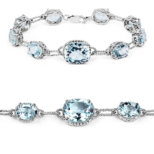 24.70 Carat Winter Colored Birthstones Genuine Blue Topaz .925 Sterling Silver Bracelet
