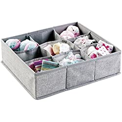 mDesign Fabric Baby Nursery Closet Organizer Bin for Clothing, Bibs, Socks, Shoes - 9 Compartments, Gray