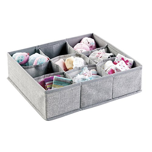 Sale!! mDesign Fabric Baby Nursery Closet Organizer Bin for Clothing, Bibs, Socks, Shoes - 9 Compart...