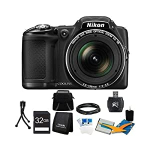 COOLPIX L830 16MP 34x Opt Zoom Digital Camera Black Ultimate Kit Includes camera, SDHC memory card, Gadget Bag, battery, USB Card reader, memory card wallet, mini tripod, Mini-HDMI to HDMI A/V Cable, 3.pc screen protectors and 3pc. cleaning kit