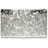 Silver Embossed Damask Business Card Case