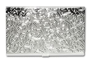Stainless Steel Business Card Holder Silver Leaves