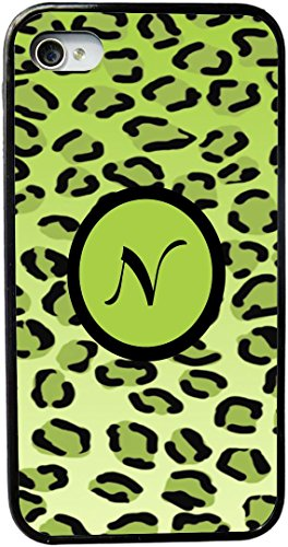 "Rikki Knighttm Letter ""N"" Initial Lime Green Leopard Print Monogrammed Design Iphone 5 & 5S Case Cover (Black Rubber With Bumper Protection) For Apple Iphone 5 & 5S front-1055948"