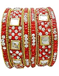 Red Gold Plated Designer Bangles Set By My Design(size-2.4)