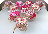 Mini Jam Jar Wedding Favours SET OF 10 Pink Patchwork 1.5 oz Wedding Favours Make your Own DIY Shabby Chic Vintage Table Decorations Baby Shower Christening or Homemade Gifts