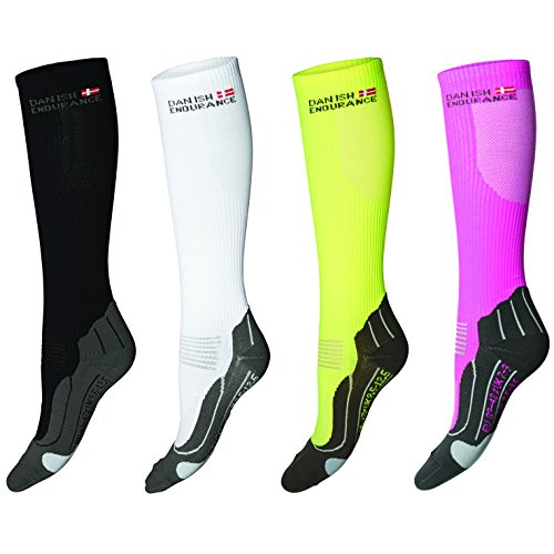 DANISH ENDURANCE Compression Socks // (US 5-8, Yellow/Grey)