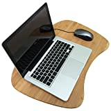Premium Triple Layer Bamboo Lap Desk for Laptop   Large Size   Natural Bamboo Surface with Detachable Cushion   Eco Friendly
