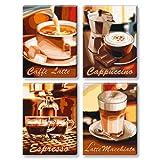 """Schipper 609310509 - Malen nach Zahlen - """"Kaffeepause"""", 4 Bilder, je 18 x 24 cm, Leinwandvon """"Noris Spiele"""""""