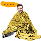 """PAMASE 82"""" X 62"""" Extra Large Emergency/Survival Blanket - Moistureproof and 90% Heat Retention - Pack of 6-Two Tones"""