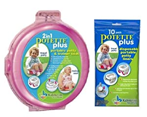 Potette Plus Travel Potty includes EXTRA 10-Pack of Liners, Pink