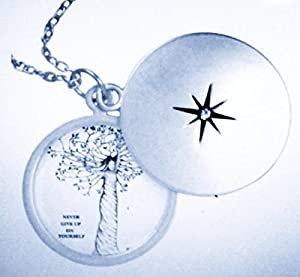 """Never Give Up On Yourself Silver Pendant Necklace 18"""""""