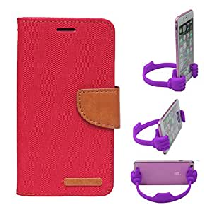 Aart Fancy Wallet Dairy Jeans Flip Case Cover for MotorolaMotoE2 (Red) + Flexible Portable Mount Cradle Thumb OK Designed Stand Holder By Aart Store.