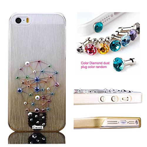 Cocoz® Iphone 5S Case Rhinestone Diamond Graphic Design Thin Shell For Iphone 5S Retail Packaging (Champagne Gold With Light Bulb)