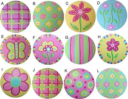 Colorful spring blooms hand painted decorative for Children s bureau knobs
