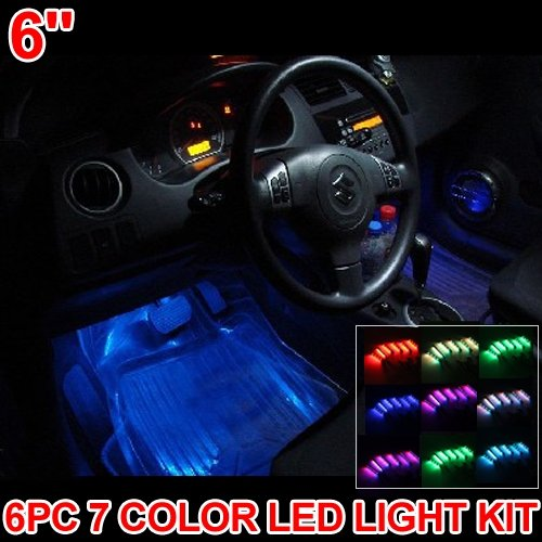 Carchet kit 6 barra led neon 7 colori da interno tuning for Interno auto
