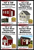 4 Garden Shed Plan Books 10 x 14, 12 x 16, 12 x 12, 10 x 14 Step By Step Pictures, Videos, Instructions and Plans