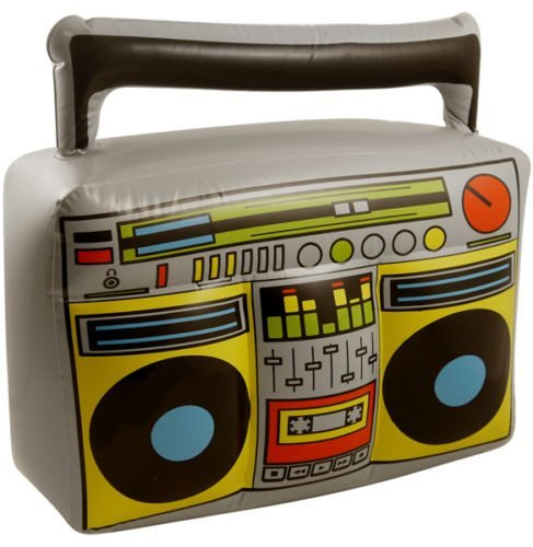 Inflatable Blow Up 1980s Boom Box Music/Ghetto Blaster. Novelty Fancy Dress Prop