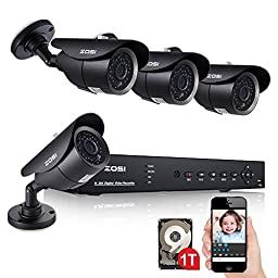 ZOSI 720P HD 8CH Video Security System w/ Four 1.0MP Weatherproof IP67 Outdoor Bullet Cameras, 120ft IR LED Night Vision,3.6mm lens,Remote Surveillance,Metal Housing,Pre-Installed 1TB Hard Disk (Black)