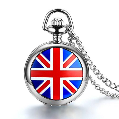 """JewelryWe Gioielli collana con pendente da uomo donna Bandiera UK dipinto Quarzo orologio da tasca catenina lunga 30.7"""" (con regalo borsa)"""