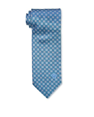 Versace Men's Medallion Tie, Teal Blue/White