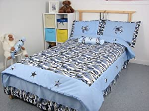 Blue Camouflage Twin Kids Childrens Bedding Set 4 pcs