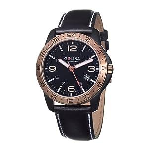 Golana Swiss Men's AE320-1 Aero Steel Leather Two Time Zone Watch