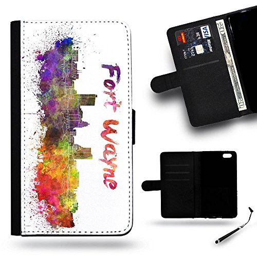Smart Phone Case Accessory # Leather Cover Protective Case Wallet Case for Apple iPhone 5C // Fort Wayne IN indiana city Skyline watercolor (Halloween City Fort Wayne)