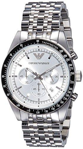 75373d2b4205 Emporio Armani Reloj de cuarzo Hombre con Pulsera de acero inoxidable de  plata cronógrafo y plata