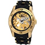 Invicta Men's 1261 Sea Spider Mechanical Skeleton Dial Black Polyurethane Watch