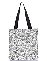 Snoogg Abstract Black And White Design Digitally Printed Utility Tote Bag Handbag Made Of Poly Canvas