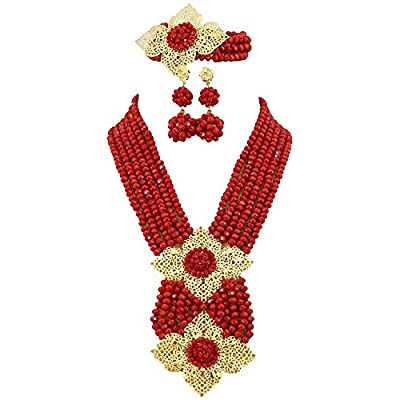 Africanbeads Red African Beads Jewelry Set,african Costume Jewelry Set