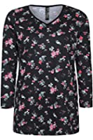 Yoursclothing Plus Size Womens Ditsy Floral Print Long Sleeved T-shirt