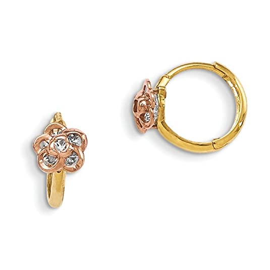 14ct Madi K Yellow and Rose Gold CZ Flower Hinged Hoop Earrings