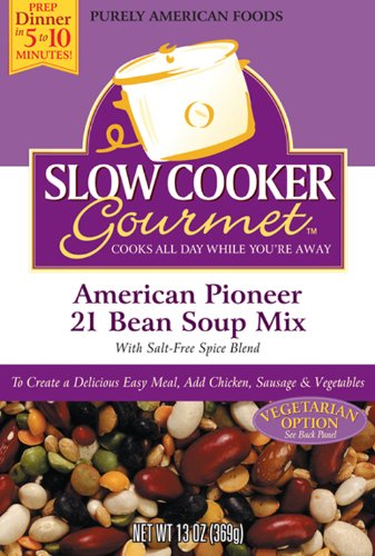 Slow Cooker Gourmet American Pioneer 21 Bean Soup Mix 13 Ounce Boxes Pack of 6