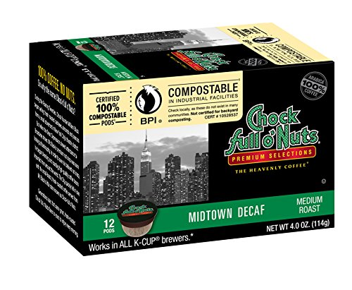 Chock full o'Nuts Coffee Midtown Decaf Medium Roast, 12 Single Serve Cups, 3.8 Ounce (Chock Full O Nuts Decaf compare prices)
