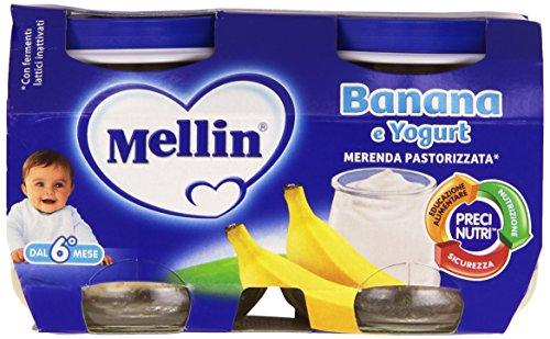 Mellin - Merenda Pastorizzata, Banana & Yogurt, 2 x 120 g - 240 g