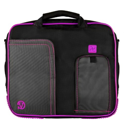 Pindar Messenger Shoulder Carrying Bag Durable Case (Purple Trim) For The Coby Tfdvd7052 7-Inch Portable Tablet Dvd/Cd/Mp3 Player