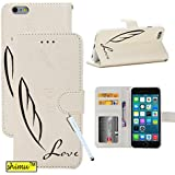 Iphone 6 Case,Fashion Newest Design Feather Pattern Flip Pu Leather Wallet Case Cover Premium Stand Card Slots Function By Shimu Fit For Iphone 6 4.7 Inch White